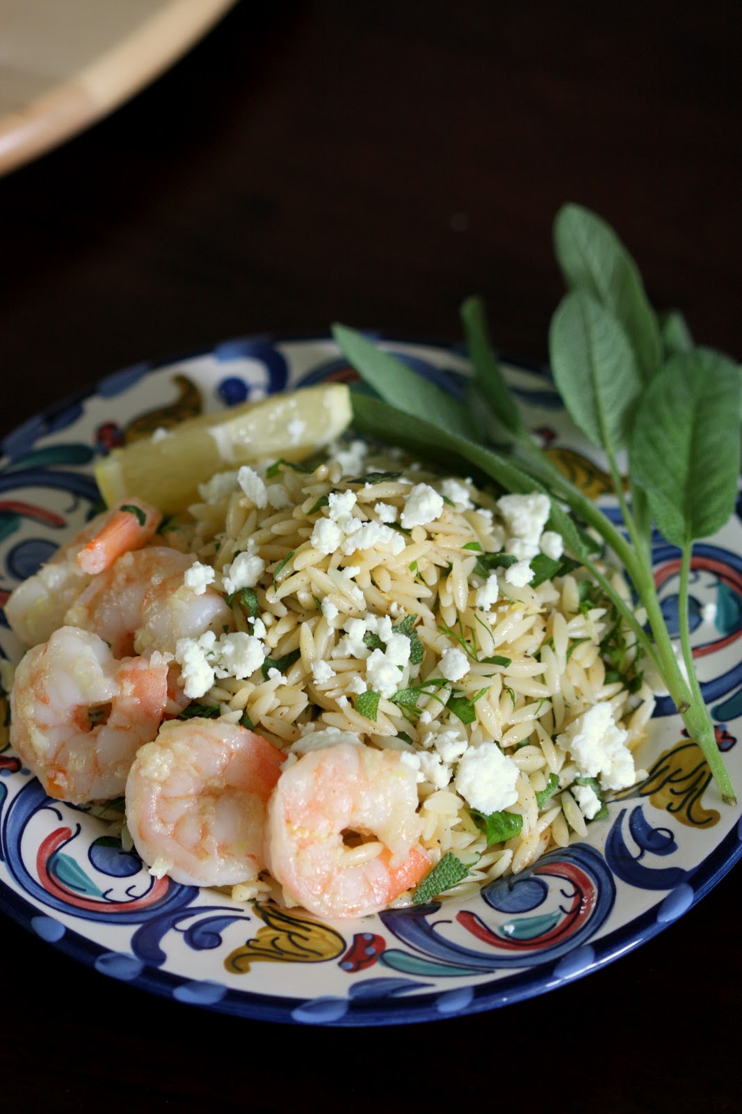 Lemony Orzo with Shrimp and Herbs | Wandering Spice