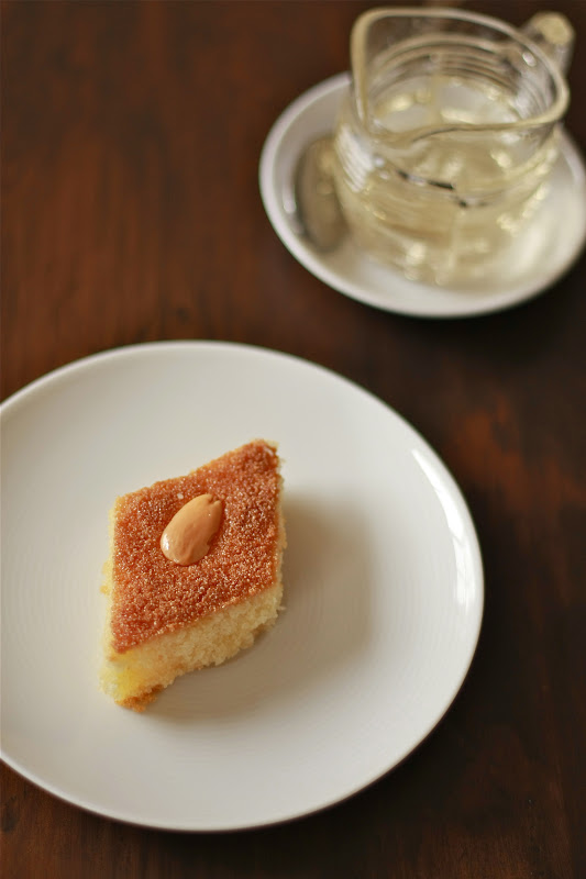 semolina and coconut slice with orange blossom syrup