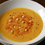 Red Lentil and Carrot Soup with Roasted Tomato Harissa (Vegan)