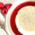 Vanilla Bean Panna Cotta with Raspberry-Rose Sauce