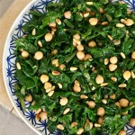 Braised Kale with Chick Peas and Pine Nuts