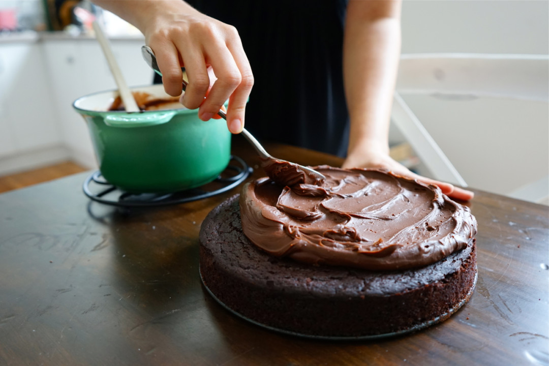 Chocolate Olive Oil Cake with Salted Chocolate Ganache | Wandering ...