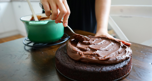 Chocolate Olive Oil Cake with Salted Chocolate Ganache | Wandering Spice