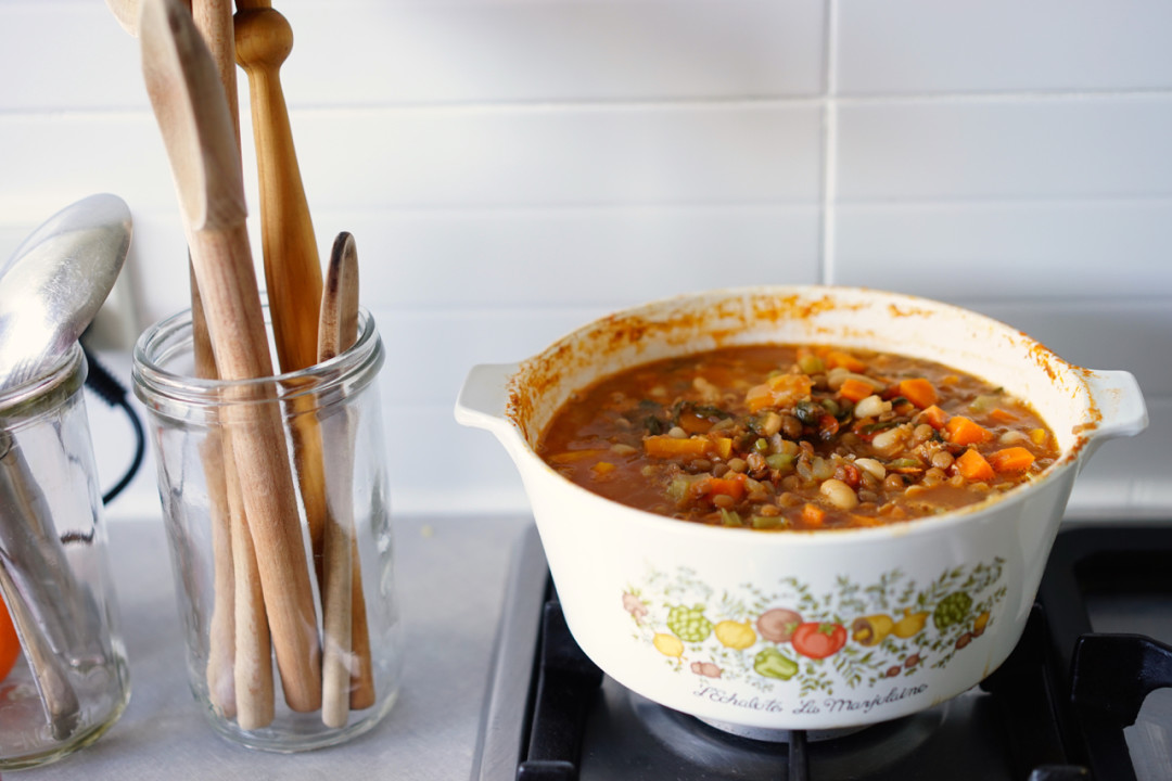 Vegetable stoup with basil and parmesan | Wandering Spice