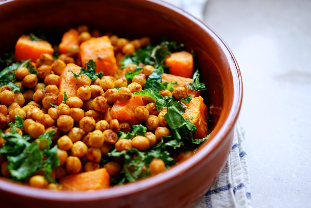 Roasted sweet potato, chickpea & kale salad with spicy-sweet tahini